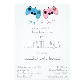Pink and Blue Game Controllers Baby Gender Reveal 5x7 Paper Invitation Card