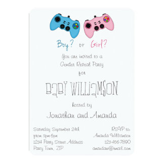 Pink and Blue Game Controllers Baby Gender Reveal Custom Invite