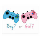 Pink and Blue Game Controllers Baby Gender Reveal Postcard