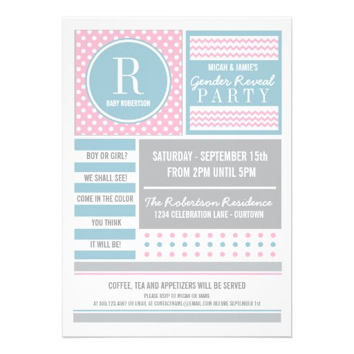 Pink and Blue Gender Reveal Party Invitation Invite