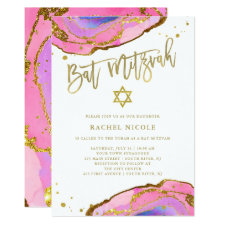 Pink and Blue Geode with Gold | Bat Mitzvah Invitation