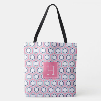 Pink and Blue Geometric Pattern and Monogram Tote Bag