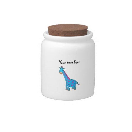 Pink and blue giraffe candy jars