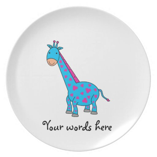 Pink and blue giraffe plates