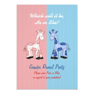 Pink and Blue Giraffes Gender Reveal Party Card