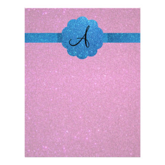 Pink and blue glitter monogram personalized flyer