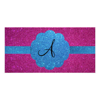 Pink and blue glitter monogram personalized photo card