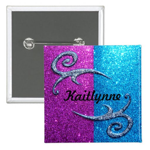 Pink and Blue Glitter & Swirls Buttons