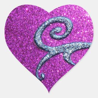 Pink and Blue Glitter & Swirls Heart Sticker