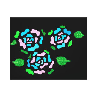 Pink and Blue glittery roses Canvas Print