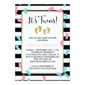 Pink and Blue Gold Footprints Twins Baby Shower Card