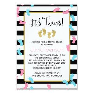 Footprint baby shower invitations zazzle pink and blue gold footprints twins baby shower invitation filmwisefo