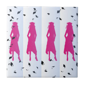 Pink and Blue Grad Silhouettes Ceramic Tile