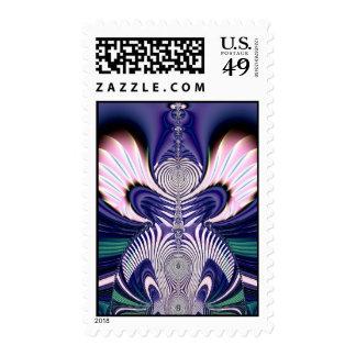 Pink and Blue Guardian Angel Fractal Postage