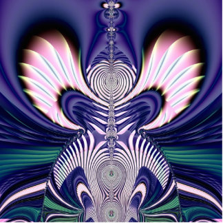 Pink and Blue Guardian Angel Fractal Statuette