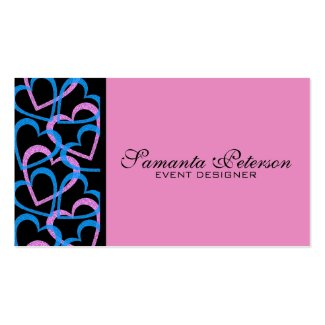 Pink And Blue Hearts Abstract Pattern Business Card Templates