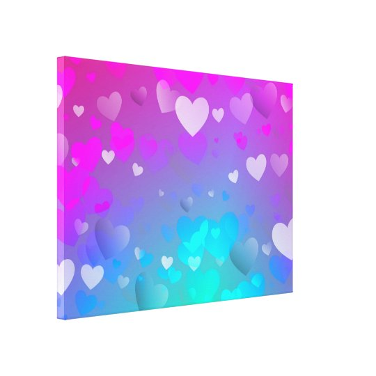Pink and Blue Hearts Canvas Print