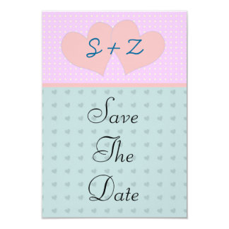 Pink and blue  hearts initialled save the date card