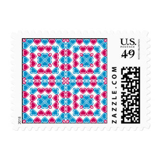 Pink and blue hearts mosaic style pattern postage