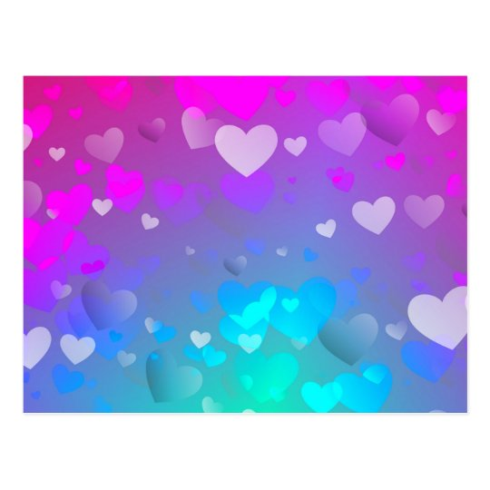 Pink and Blue Hearts Postcard