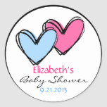 Pink and Blue Hearts Shower Round Stickers