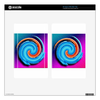 Pink and Blue Hurricane Swirl Kindle Fire Decals