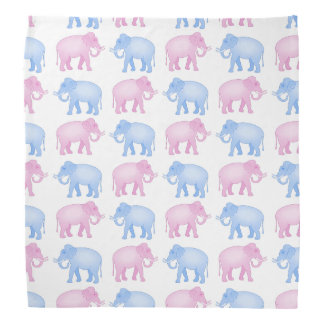 Pink and Blue Indian Elephant Pattern Bandana