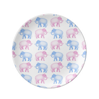 Pink and Blue Indian Elephant Pattern Dinner Plate