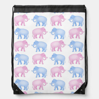 Pink and Blue Indian Elephant Pattern Drawstring Bag