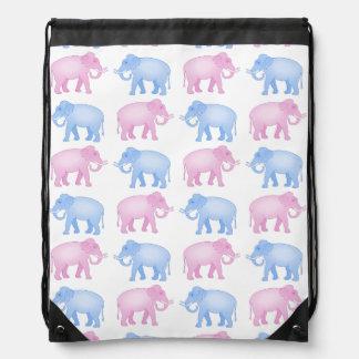 Pink and Blue Indian Elephant Pattern Drawstring Bag