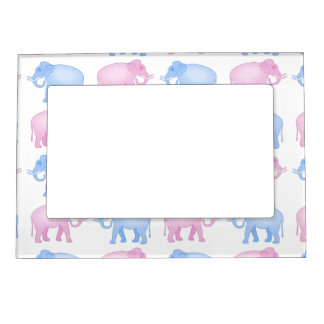 Pink and Blue Indian Elephant Pattern Magnetic Picture Frame