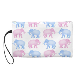 Pink and Blue Indian Elephant Pattern Wristlet Purse
