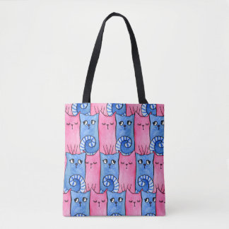 Pink and Blue Kitty Tote Bag