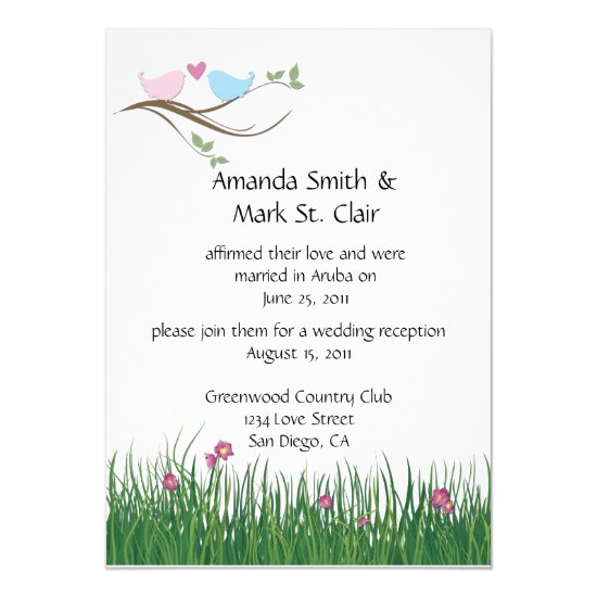 Pink and Blue Lovebirds Wedding Reception Only Invitation