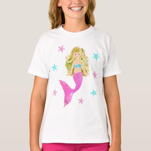 Pink And Blue Mermaid Starfish T_Shirt