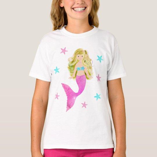 Pink And Blue Mermaid Starfish T-Shirt