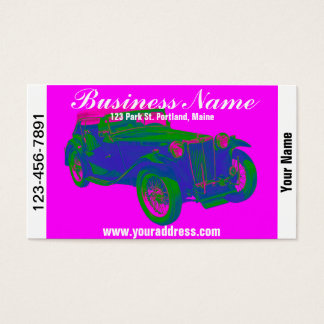 Pink and Blue Mg Tc Antique Car Pop Art Business Card