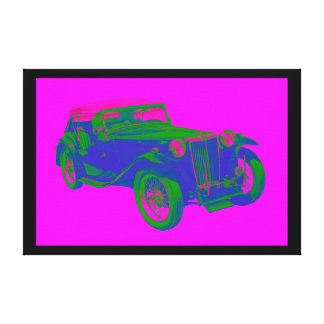 Pink and Blue Mg Tc Antique Car Pop Art Canvas Print