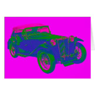 Pink and Blue Mg Tc Antique Car Pop Art Card