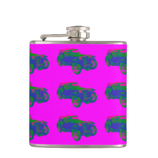 Pink and Blue Mg Tc Antique Car Pop Art Flask