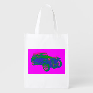 Pink and Blue Mg Tc Antique Car Pop Art Grocery Bag