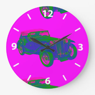 Pink and Blue Mg Tc Antique Car Pop Art Large Clock