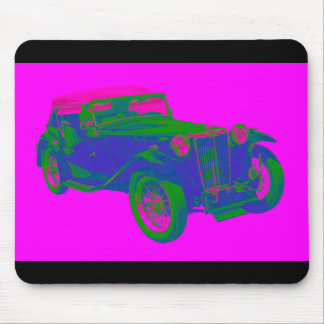 Pink and Blue Mg Tc Antique Car Pop Art Mouse Pad