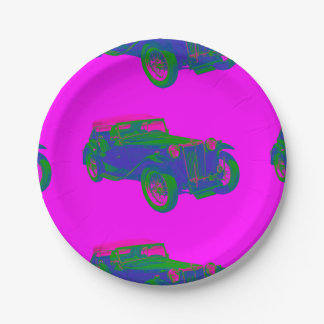 Pink and Blue Mg Tc Antique Car Pop Art Paper Plate