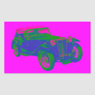Pink and Blue Mg Tc Antique Car Pop Art Rectangular Sticker