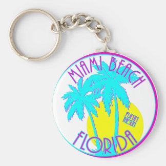 Pink and Blue Miami Beach Florida Logo Gear Keychain