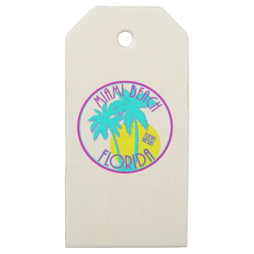 Beach Themed Pink and Blue Miami Beach Florida Logo Gear Wooden Gift Tags