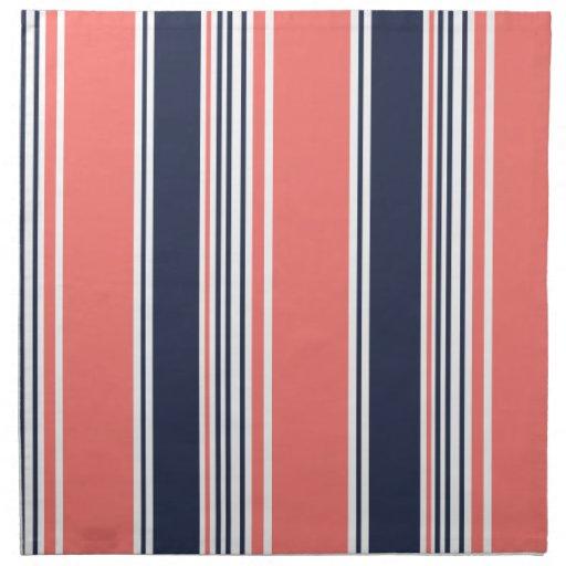 Pink and Blue Modern Stripes Napkins