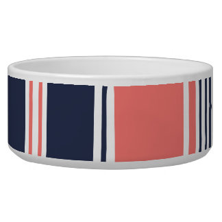 Pink and Blue Modern Stripes Pet Food Bowl