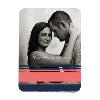 Pink and Blue Modern Stripes Rectangle Magnets